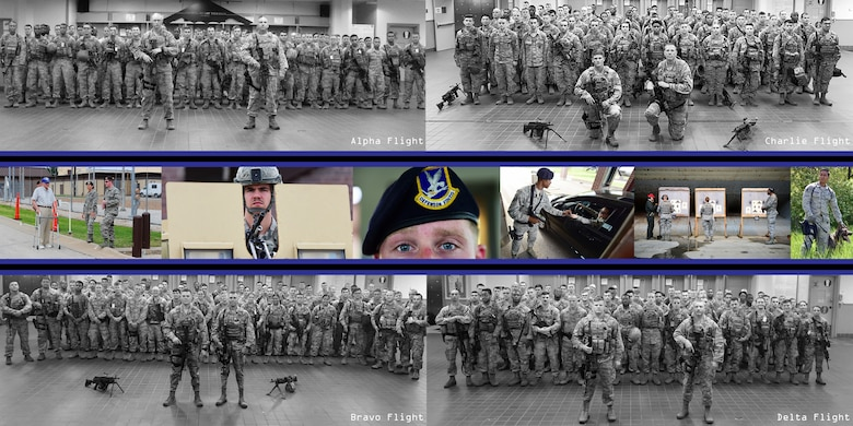 A collage of photos illustrating members assigned to the 509th Security Forces Squadron standing in their respective flight formation and on-the-job shots of defenders at Whiteman Air Force Base, Mo., through 2017.