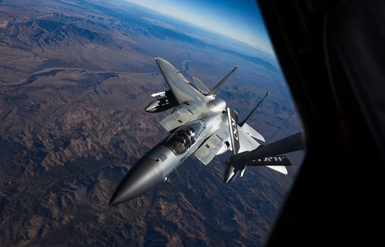 An F-15C Eagle fighter jet assigned to the Oregon Air National Guard's 123rd Fighter Squadron approaches an in-flight refueling boom during Red Flag 18-1 over the Nevada Test and Training Range Feb. 7, 2018. Units from across the country along with members from the Royal Air Force and Royal Australian Air Force participated as Blue Forces in this year's first Red Flag exercise.