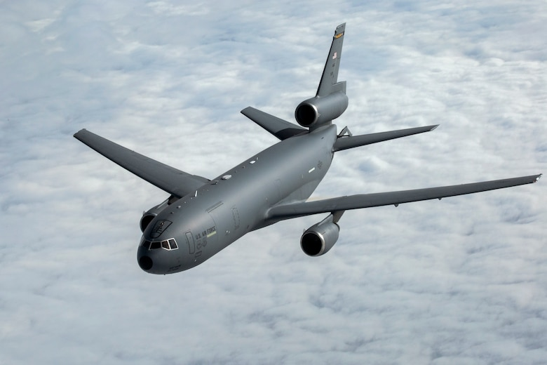 A KC-10 Extender with the 76th Air Refueling Squadron, 514th Air Mobility Wing, moves away after being refueled by a KC-10 crewed by Airmen with the 78th Air Refueling Squadron, 514th AMW, over the Atlantic Ocean, Feb. 14, 2018. The 514th AMW is an Air Force Reserve Command unit located at Joint Base McGuire-Dix-Lakehurst, N.J.
