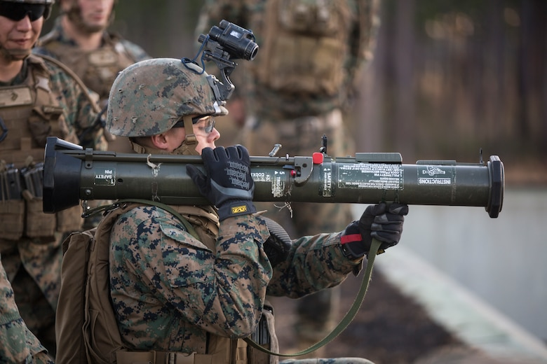 Pfc. Kyle Hill readies to fire an AT-4 rocket launcher as part of a live-fire exercise on Marine Corps Base Camp Lejeune, N.C., Jan. 24, 2018. The Marines with 1st Battalion, 2nd Marine Regiment conducted immediate remedial action drills and traversed, searched and engaged targets moving from one to another. Hill is an infantry Marine with 1/2.