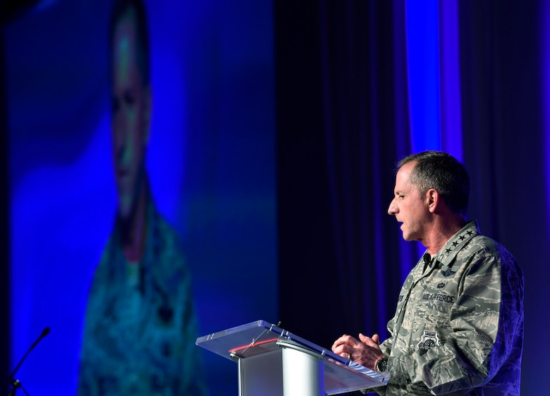 Chief of Staff of the Air Force Gen. David L. Goldfein speaks about innovation during the Air Force Association Air Warfare Symposium in Orlando, Fla., Feb. 23, 2018. (U.S. Air Force photo by Wayne A. Clark)
