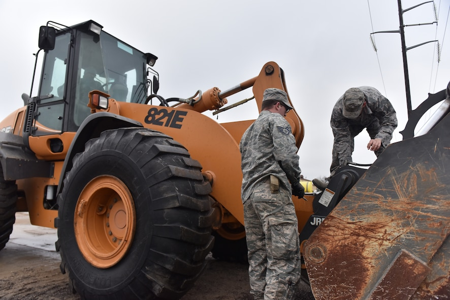 Members of the 509th Civil Engineer Squadron are trained to operate large vehicles Feb. 14 , 2017, at Whiteman Air Force Base, Mo.