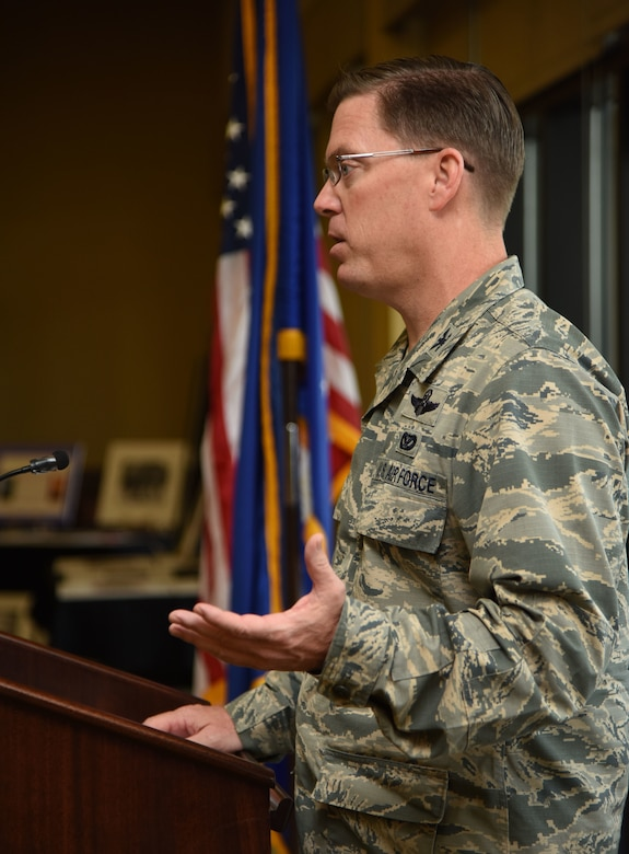 """Col. C. Mike Smith, 81st Training Wing vice commander, delivers remarks during the African-American Heritage Committee Luncheon at the Bay Breeze Event Center Feb. 20, 2018, on Keesler Air Force Base, Mississippi. The theme of African American History Month this year is """"African Americans in Times of War."""" Proceeds from the event will benefit the Col. Lawrence E. Roberts memorial scholarship fund which helps local youth pay for tuition, books and other academic costs. Roberts, a Biloxi resident and Tuskegee Airman, passed away in 2004. (U.S. Air Force photo by Kemberly Groue)"""