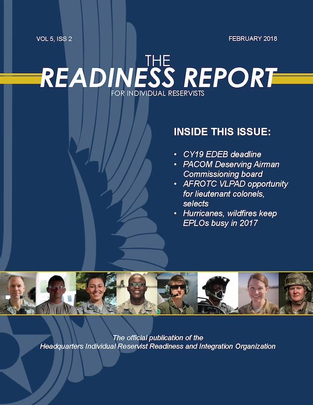 The February 2018 edition of the Readiness Report newsletter for Individual Reservists is now available for digital download.