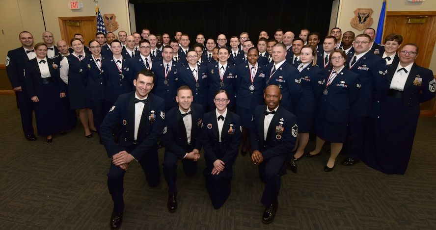Members of Whiteman Leadership School 18-B gather for a class photo at Whiteman Air Force Base, Mo., Feb. 15, 2018. ALS is a five-and-a-half week-long course that prepares Airmen to become noncommissioned officers.