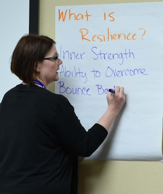 Ms. Mary Arnold, director of psychological health, gives a presentation about resilience during a Heartlink event for active duty spouses Feb. 15, 2018 at the Lone Star Center on Naval Air Station Fort Worth Joint Reserve Base, Texas. The Heartlink program helps active duty spouses acclimate to the Air Force and understand their importance to the mission. (U.S. Air Force photos by Melissa Harvey)