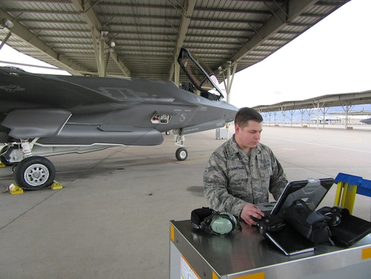 Senior Airman Devon Charmichael, a Low-Observable technician, prepares to launch an F-35A Jan 31, 2018, at Hill Air Force Base, Utah. Launching aircraft is historically done by the crew chief, but 388th FW maintainers participating in the Blended Operational Lightning Technicians, or BOLTs, program are learning other maintainer responsibilities in an