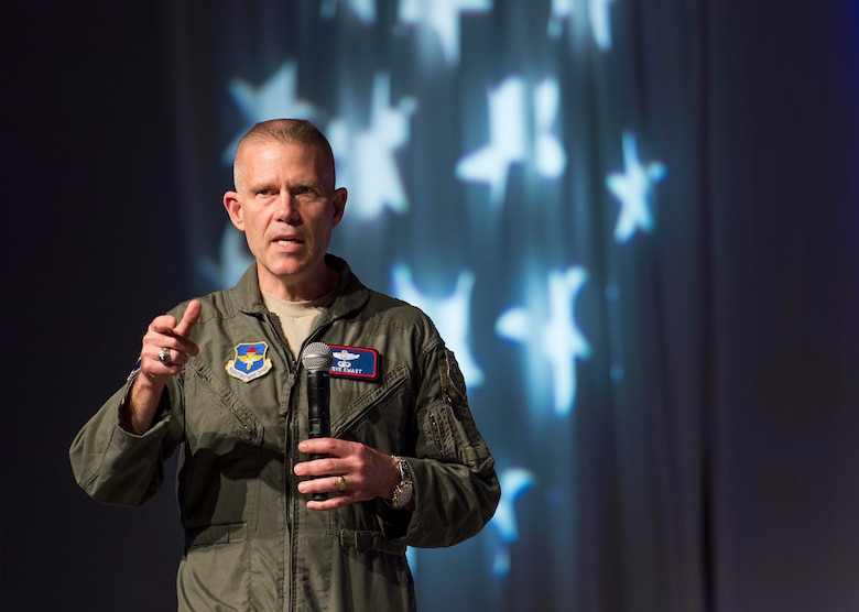 U.S. Air Force Lt. Gen. Steven Kwast, Commander of Air Education and Training Command, speaks to atendees of the 2018 Air Force Association Air Warfare Symposium in Orlando, Fla., Feb. 22, 2018. During his speech Lt. Gen. Kwast explained the importance of innovation for the future of the Air Force and how to develop innovators. (U.S. Air Force photo by Staff Sgt. Kenneth W. Norman)