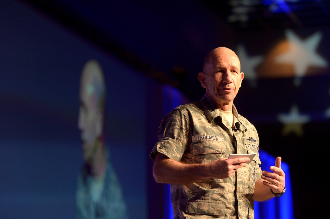 Photo commander of Air Combat Command, Gen. Mike Holmes at the 2018 Air Warfare Symposium