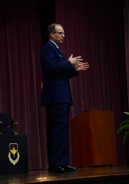 Maj. Gen. James P. Scanlan, Mobilization Assistant to the Commander, Air Force Special Operations Command at Hurlburt Field, Florida, spoke at Specialized Undergraduate Pilot Training Class 18-05's graduation Feb. 16, 2018, on Columbus Air Force Base, Mississippi. Scanlan talked to the Air Force's 20 newest aviators about their role as not just a pilot, but officer and a leader in the Air Force. (U.S. Air Force photo by Airman 1st Class Beaux Hebert)