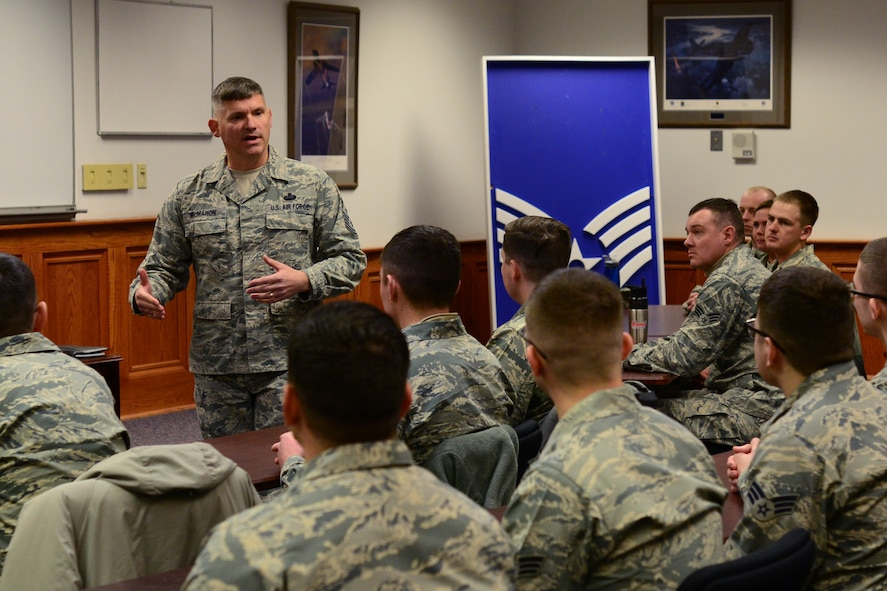 Chief Master Sgt. Patrick McMahon, senior enlisted leader of U.S. Strategic Command, delivers remarks to students at the Airman Leadership School Feb. 23, 2018, at Malmstrom Air Force Base, Mont.