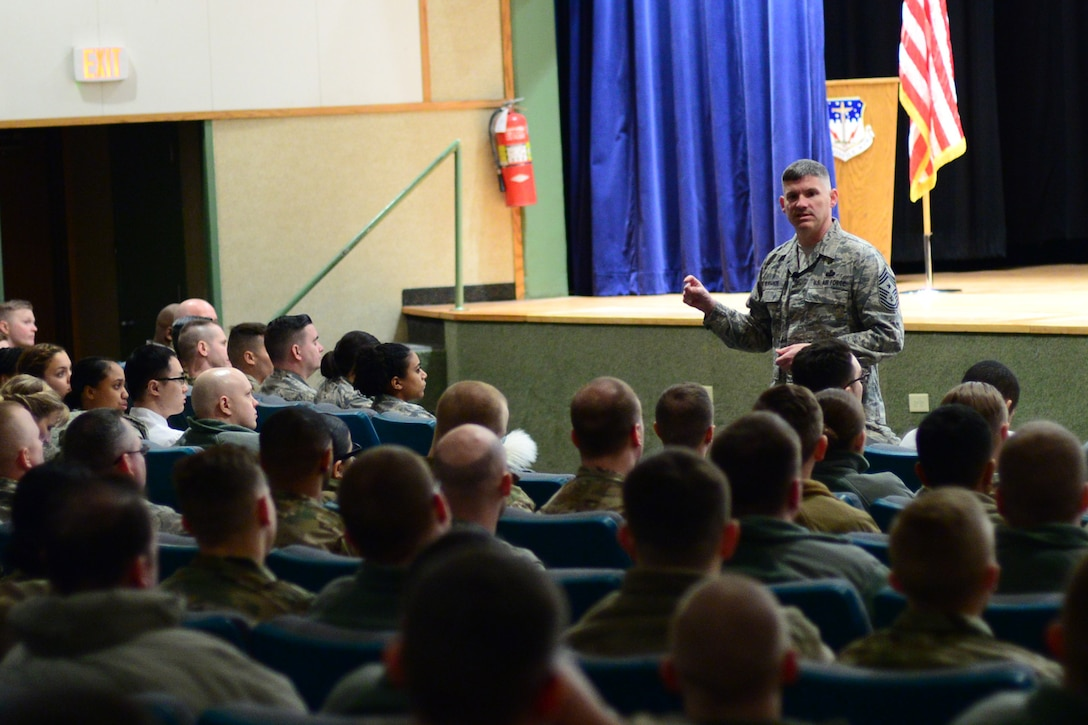 Chief Master Sgt. Patrick McMahon, senior enlisted leader of U.S. Strategic Command, speaks during an enlisted call Feb. 23, 2018, at Malmstrom Air Force Base, Mont.