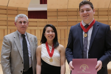On Saturday, Feb. 24, the Marine Band hosted its annual recital for the 2017-18 Concerto Competition for High School Musicians at the John Philip Sousa Band Hall in Washington, D.C. The panel of judges consisted of Marine Band Director Col. Jason K. Fettig, Assistant Directors Maj. Michelle A. Rakers and Capt. Ryan J. Nowlin, and guest adjudicator professor Dennis Zeisler from Old Dominion University (ODU) in Norfolk, Va. The semi-finalists include tuba player Robert Black, flutist Tessa Vermeulen, saxophone player Jordan Savage, flutist Jennifer Wang, and bassoonist Daniel McCarty.