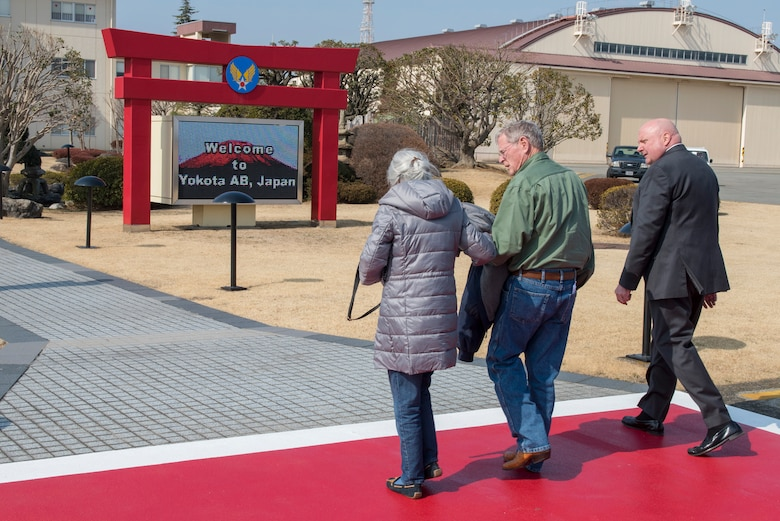 Sen. James Inhofe, R-O.K., walks with his wife Kay after his congressional delegation arrived at Yokota Air Base, Japan, Feb. 24, 2018.