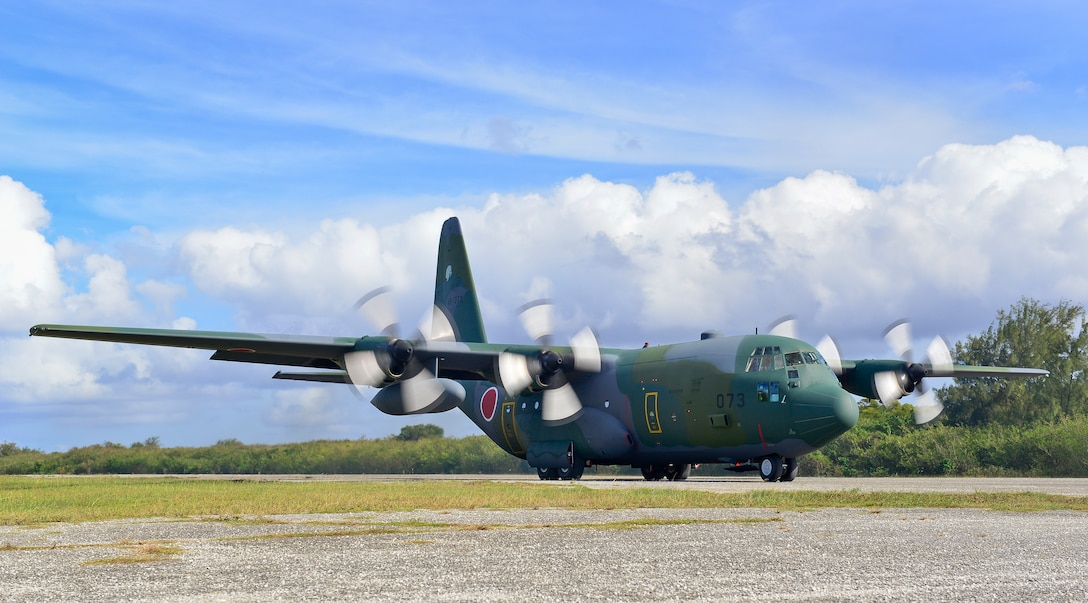 A Koku Jieitai (Japanese Air Self-Defense Force) C-130H Hercules lands on Tinian, U.S. Commonwealth of the Northern Marianas Islands, during exercise COPE NORTH 18, Feb. 21. Through exercises and engagements during COPE NORTH, United States Air Force, Koku Jieitai (Japan Air Self-Defense Force) and Royal Australian Air Force increase interoperability for humanitarian assistance/disaster relief operations. (U.S. Air Force photo by Airman 1st Class Christopher Quail)