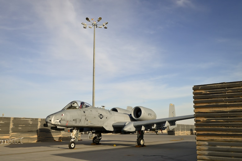 An A-10 Thunderbolt II, assigned to the 303rd Expeditionary Fighter Squadron, sits on the newly realigned flight line at the 451st Air Expeditionary Group, Kandahar Airfield, Afghanistan Feb. 22, 2018.