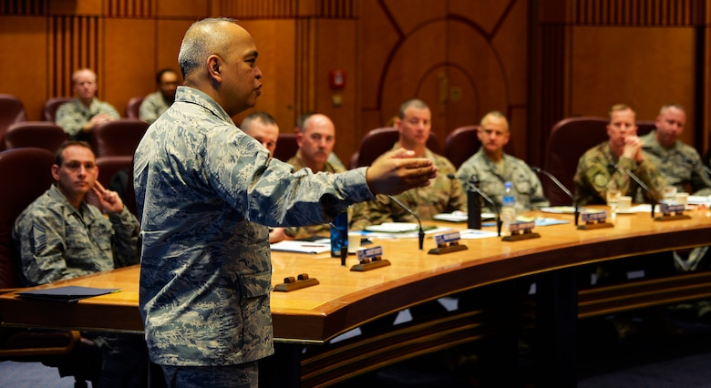 U.S. Air Force Brig. Gen. Roy Agustin, U.S. Air Forces in Europe and Africa director of logistics, engineering, and force protection, addresses 521st Air Mobility Operations Wing leadership on Ramstein Air Base, Germany, Feb. 21, 2018. Agustin spoke about developing Airmen, enhancing readiness, strengthening partnerships, reassuring allies, and increasing resiliency of cyber securities. The presentation was a part of the four-day 521st AMOW Commander's Conference. Throughout the week, the wing focused on the several Major Graded Areas, held discussions with the first sergeant's, and hosted an annual award ceremony. The MGAs are to take care of Airmen, managing resources, improving the unit, and executing the mission.