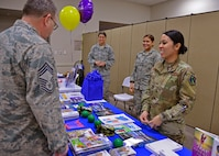 Master Sgt. AnnJill Transfiguracion, 919th Special Operations Force Support Squadron Airman and Family Readiness Center, gives an overview of available resiliency support materials