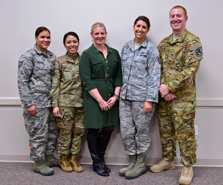 919th Special Operations Force Support Squadron's Airman and Family Readiness Center team, shown from left, includes Tech. Sgt. Rina Gatzman, Master Sgt. AnnJill Transfiguracion, Kelly Ewert, Tech. Sgt. Molly Holzem and Tech. Sgt. William Steele.