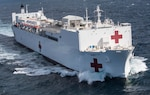The hospital ship USNS Mercy departs Naval Base San Diego in support of Pacific Partnership 2018, Feb. 23, 2018. Pacific Partnership, now in its 13th iteration, is the largest annual multinational humanitarian assistance and disaster relief preparedness mission conducted in the Indo-Pacific. Navy photo by Petty Officer 2nd Class Kelsey L. Adams