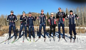 Members of the 2017 Colorado National Guard biathlon team pose for a photo during ski training at Snow Mountain Ranch in Granby, Colo., Dec. 15, 2017. Colorado Army National Guard photo by Lt. Col. Marc Reyher
