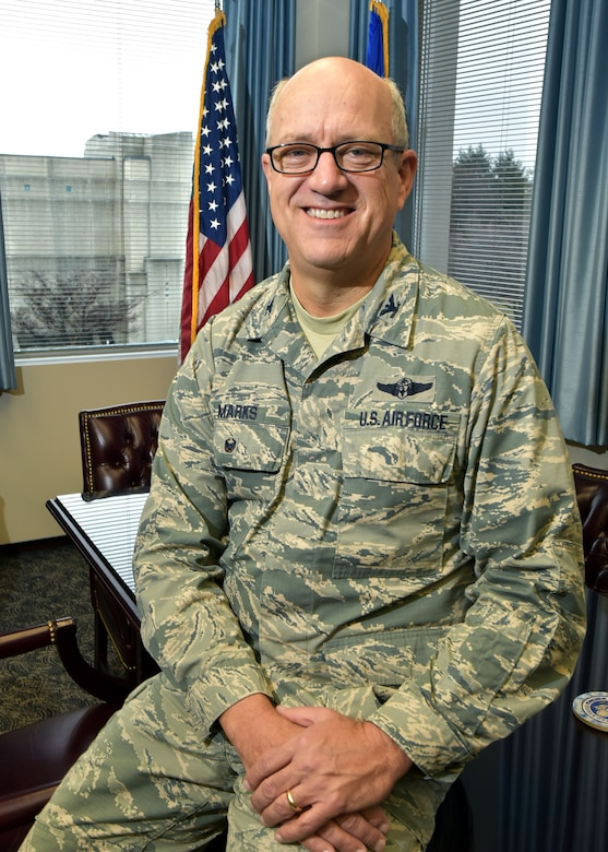 Col. Robert Marks, Air Force Materiel Command surgeon, poses for a photo inside his office at Wright-Patterson Air Force Base, Ohio, Feb. 2, 2018.