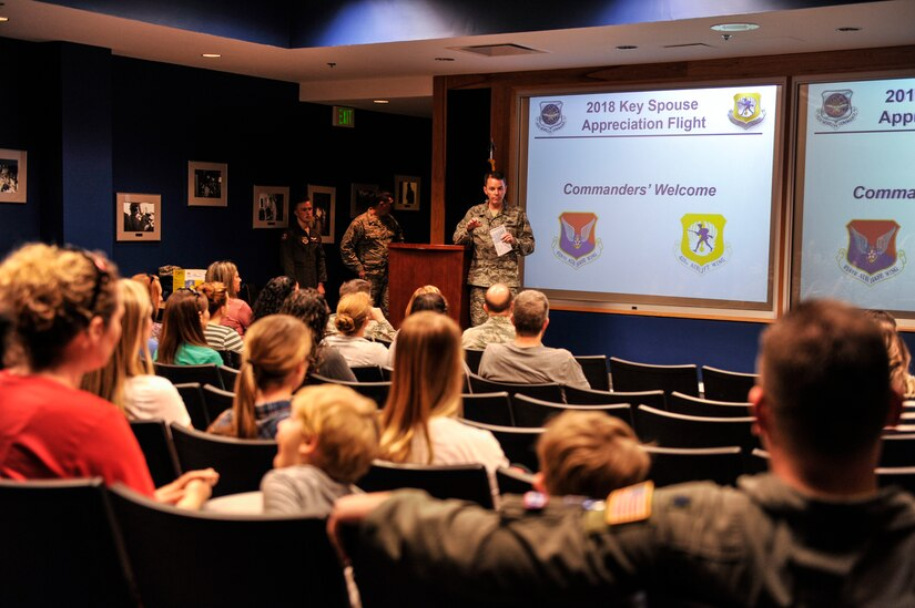 Col. Jeff Nelson, 628th Air Base Wing commander, gives an introduction speech to key spouses before their incentive C-17 Globemaster III flight Feb. 24, 2018, at Joint Base Charleston, S.C.
