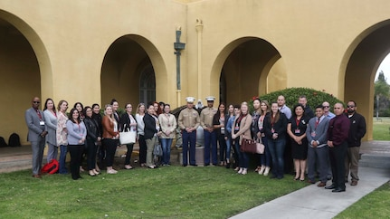 The 12th Marine Corps District conducted District Spouse Orientation Course 1-18 (DSOC) aboard Marine Corps Recruit Depot (MCRD) San Diego, Calif., Feb. 15, 2018. The DSOC provides Marines and their spouses a broad spectrum of tools to help them transition into the Marine Corps' recruiting field. The spouses came from across the district to build connections and network with fellow spouses. (U.S. Marine Corps Imagery by Cpl. Jesus McCloud)