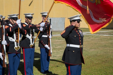 Master Gunnery Sgt. Luis M. Aguilar, renders a salute during the National Anthem at his retirement ceremony aboard Marine Corps Recruit  Depot, San Diego, Feb. 23, 2018. The retirement ceremony was held to honor Aguilar for his 28 years of honorable and faithful service to the United States Marine Corps. (U.S. Marine Corps photo by Sgt. Taylor Schrick)