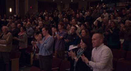 Concert goers applaud USAF Band and Michael Burritt