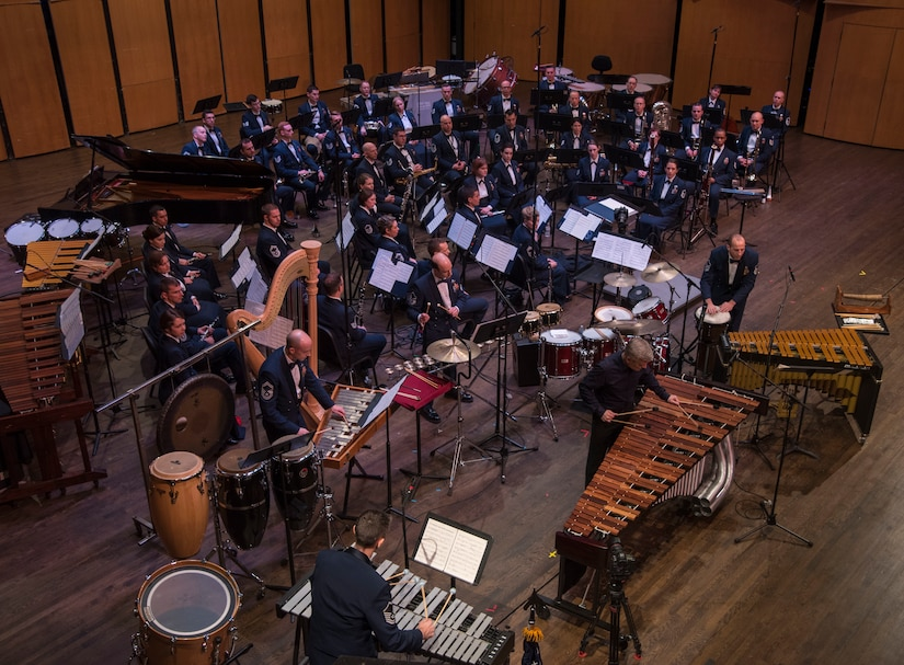 Percussionist Michael Burritt performs with USAF Concert Band