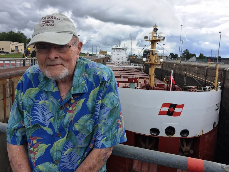Retired former U.S. Army Corps of Engineers Design Chief Joseph Foley tours the Eisenhower and Snell Navigation Locks on the St. Lawrence Seaway in Aug. 2017.