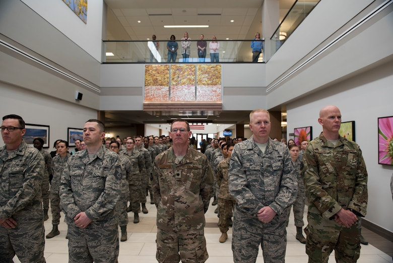Members from the 27th Special Operations Medical Group stand in formation during the 27th SOMDG building ribbon cutting ceremony at Cannon AFB, N.M., Feb. 23, 2018. This upgrade has been planned for the last few years. The ground-breaking ceremony was July of 2015 and now, nearly three years later, the building complete and open for patients. (U.S. Air Force photo by Staff Sgt. Michael Washburn/Released)