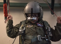 McKay Neel, McChord's newest Pilot for a Day participant, operates a parachute simulation during his McChord Field tour at Joint Base Lewis-McChord, Wash., Feb. 20, 2018. McKay spent the day with the 4th Airlift Squadron touring multiple places on McChord Field to experience what it's like to be a Team McChord pilot. (U.S. Air Force photo by Senior Airman Tryphena Mayhugh)