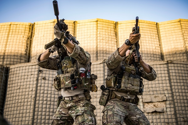 Air Force pararescuemen aim rifles during weapons training in Afghanistan, Feb. 21, 2018. The airmen are assigned to the 83rd Expeditionary Rescue Squadron. Air Force photo by Tech. Sgt. Gregory Brook