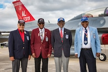 Tuskegee Airmen George Hardy, James Harvey, Theodore Lumpkin and Eugene Richardson all retired Air Force Lt. Colonels, visited the 187th Fighter Wing at Dannelly Field Air National Guard Base, Alabama, Feb. 26, 2018. Dannelly Field is the home to the current fleet of Redtails made up of F-16 fighters. (U.S. Air Force photo by Melanie Rodgers Cox)