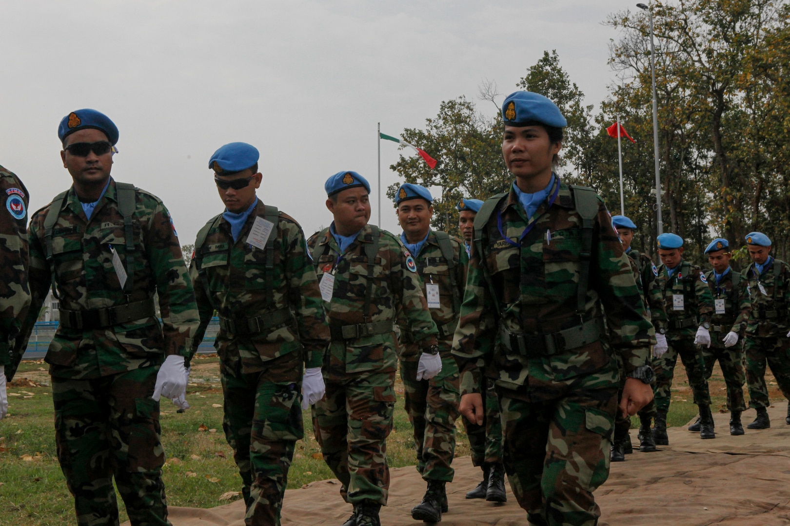 Cambodian service members arrive at the opening ceremony for exercise Shanti Doot 4 in Bangladesh.