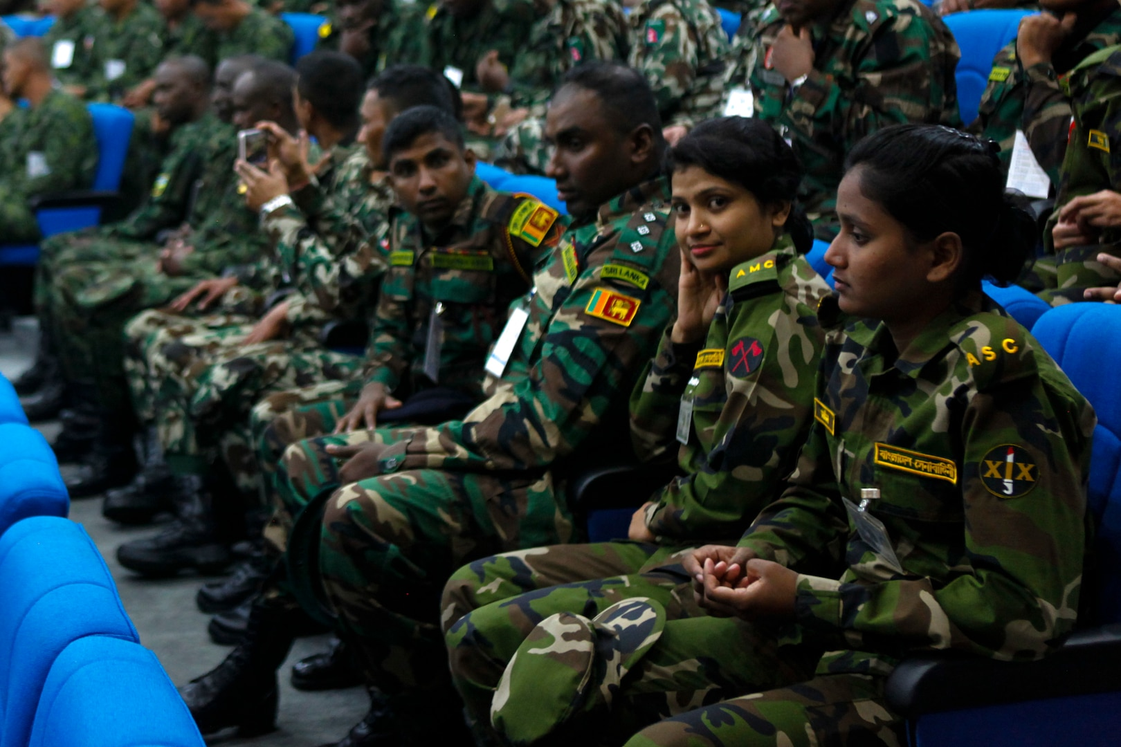 Multinational service members attend the opening ceremony of Exercise Shanti Doot 4 in Bangladesh.