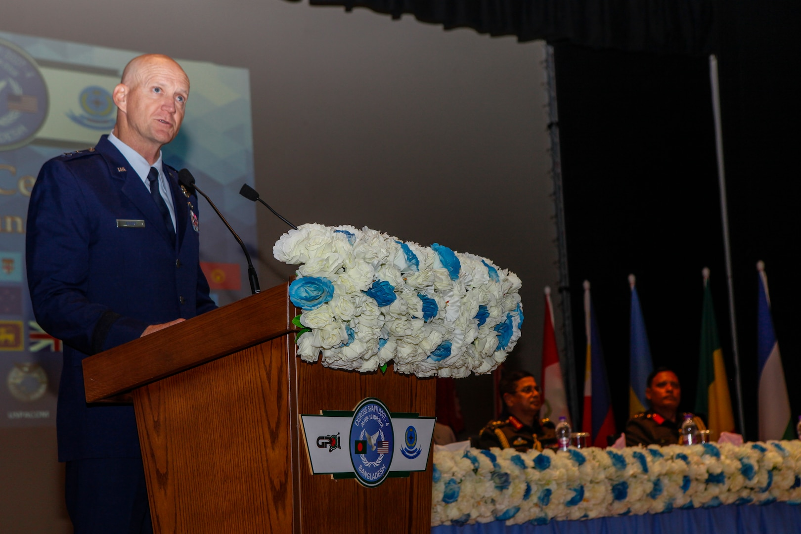 U.S. Air Force Maj. Gen. James O. Eifert, Air National Guard Assistant to Commander, U.S. Pacific Airforce, gives a speech during the opening ceremony for Exercise Shanti Doot 4 in Bangladesh.