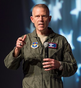 U.S. Air Force Lt. Gen. Steven Kwast, commander of Air Education and Training Command, speaks to attendees of the 2018 Air Force Association Air Warfare Symposium in Orlando, Fla., Feb. 22. During his speech, the general explained the importance of innovation for the future of the Air Force and how to develop innovators.