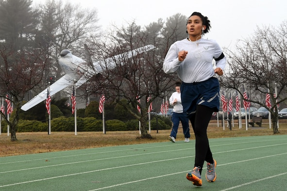 Airmen exercise on base track