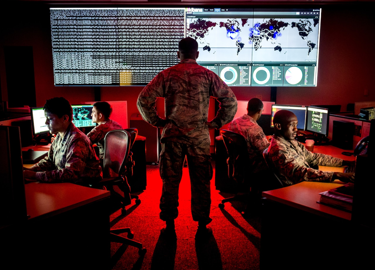 Cyberwarfare specialists serving with the 175th Cyberspace Operations Group of the Maryland Air National Guard engage in weekend training at Warfield Air National Guard Base, Middle River, Md.