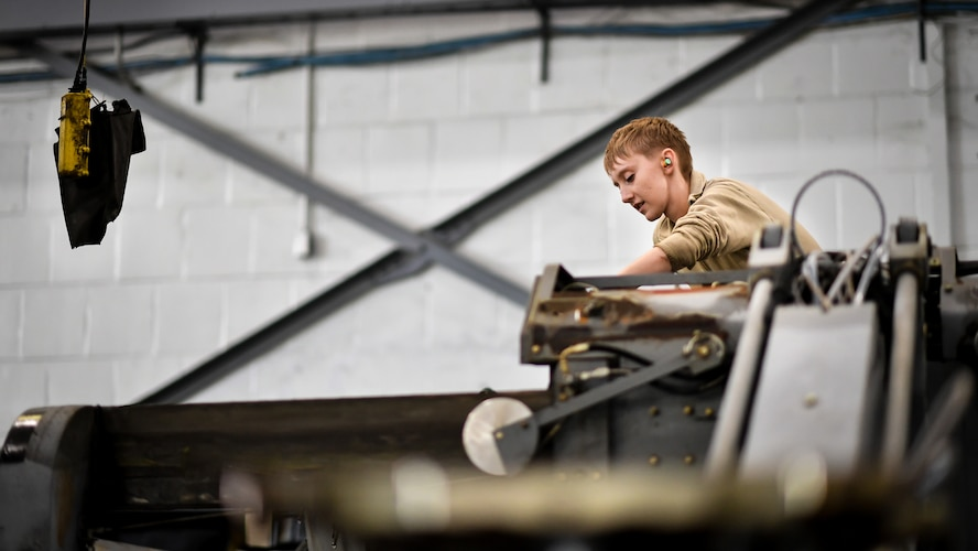 Airman Abigail Weber, 2nd Maintenance Squadron aerospace ground equipment technician, starts a bomb loader vehicle after an engine oil change at Barksdale Air Force Base, La., Feb. 27, 2018. Weber started the vehicle as the last step of the oil change process to verify the vehicle is ready for daily operations.