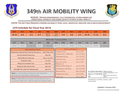 349th Air Mobility Wing FY18 UTA Schedule
