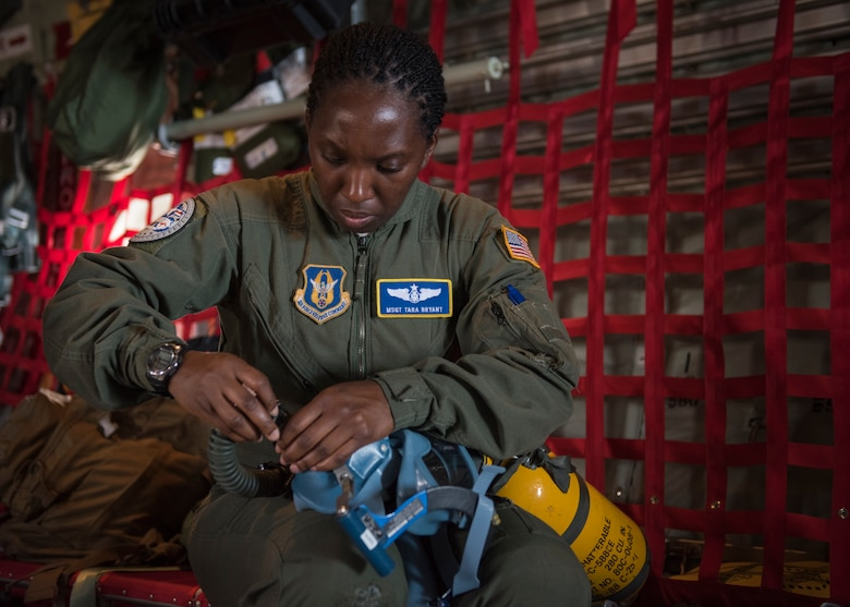 Master Sgt. Tara Bryant, 349th Aeromedical Evacuation Squadron AE technician, inspects equipment before a flight during exercise COPE NORTH 2018, at Andersen Air Force Base, Guam, Feb. 19, 2018. COPE NORTH 18 allows U.S. and allied forces to practice humanitarian aid and disaster relief efforts to prepare for and recover from the devastating effects of natural disasters. (U.S. Air Force photo by Airman 1st Class Juan Torres Chardon)
