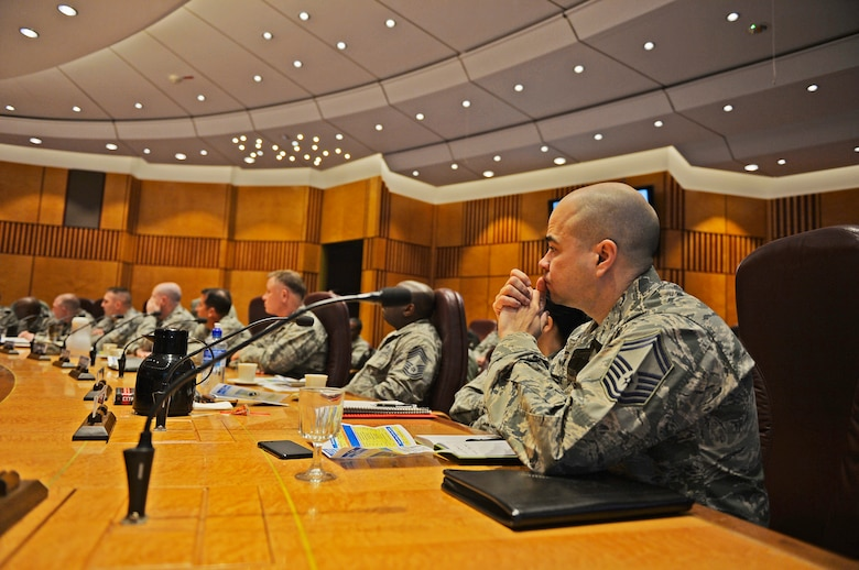 Officials assigned to the 521st Air Mobility Operations Wing participate in a commander's conference, Feb. 21, 2018, Ramstein Air Base, Germany. Attendees came not only from Ramstein, but from many other installations in countries including Kuwait, Qatar, Turkey and Spain. (U.S. Air Force photo by Senior Airman Joshua Magbanua)