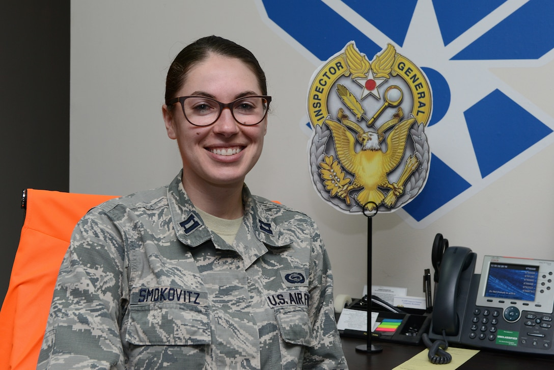 Capt. Jill A. Smokovitz, 39th Air Base Wing Inspector General inspection and exercises director, accepts the permanent party Larger Than Life award.