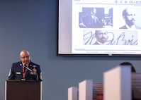 Chief Master Sgt. Rod Lindsey, 460th Space Wing command chief, speaks to FBI agents at the Denver FBI Field Office in honor of Black History Month, Feb. 12, 2018. Lindsey shared experiences of his military career as a black man in the Air Force as well as the impact and value black Americans have had on U.S. culture. (Photo courtesy of the Denver FBI Field Office)