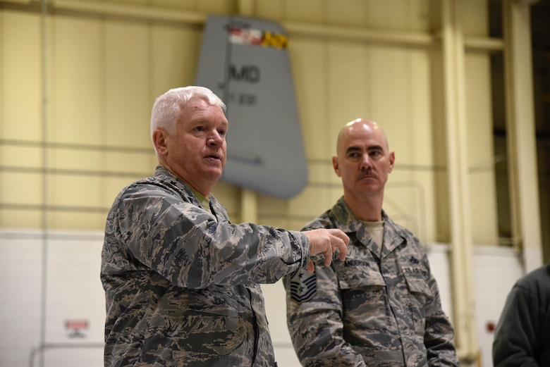 Lt. Gen. L. Scott Rice, the Director of the Air National Guard speaks to 175th Wing airmen next to Command Chief Master Sgt. Ronald C. Anderson Jr., Command Chief Master Sergeant of the Air National Guard, February 10, 2018 while touring Warfield Air National Guard Base, Middle River, Md.