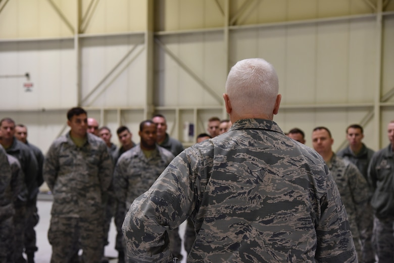 Lt. Gen. L. Scott Rice, the Director of the Air National Guard speaks to 175th Wing airmen February 10, 2018 while touring Warfield Air National Guard Base, Middle River, Md.